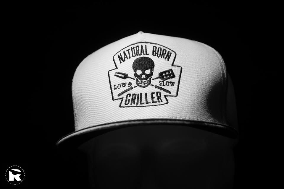 Embroidered cap with natural born griller design