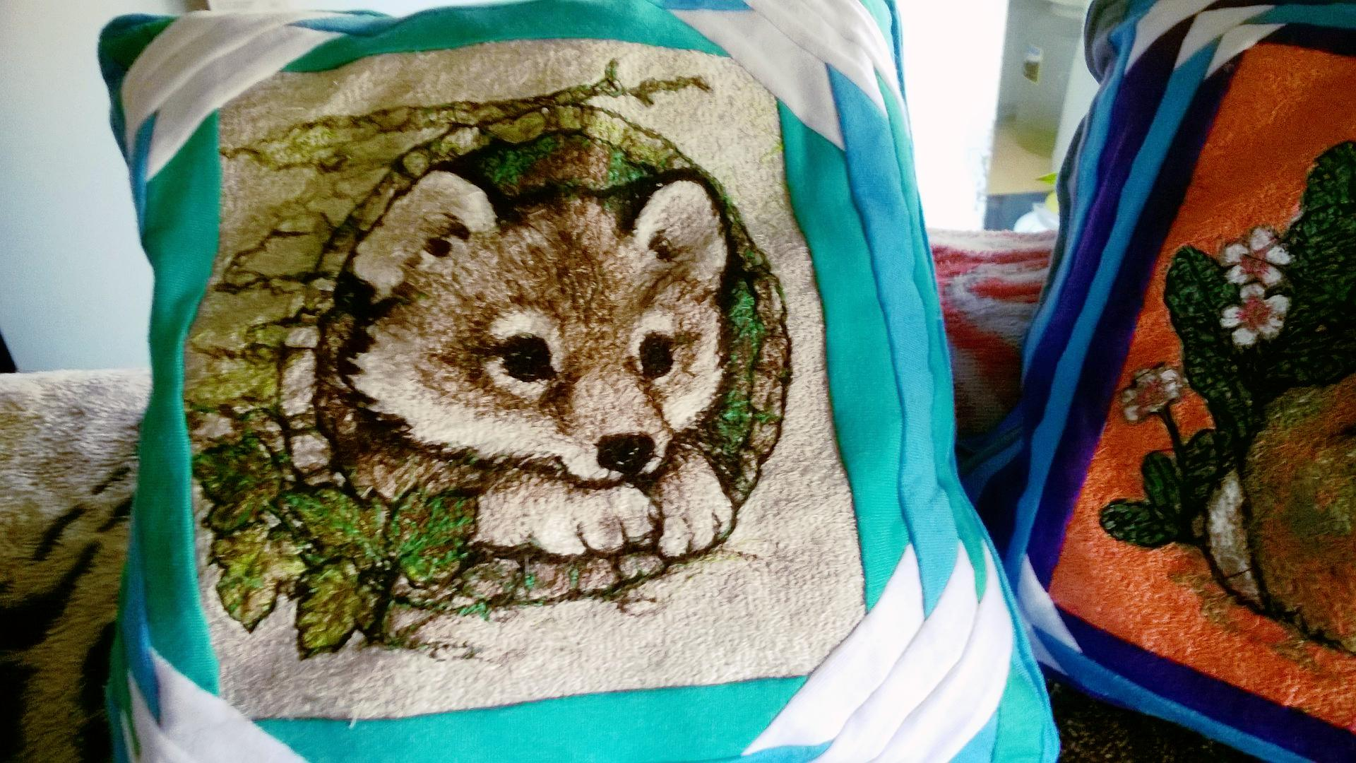 Embroidered cushion with cute fox free design