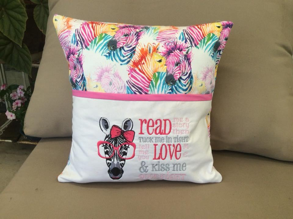 Embroidered cushion with zebra in glasses free design
