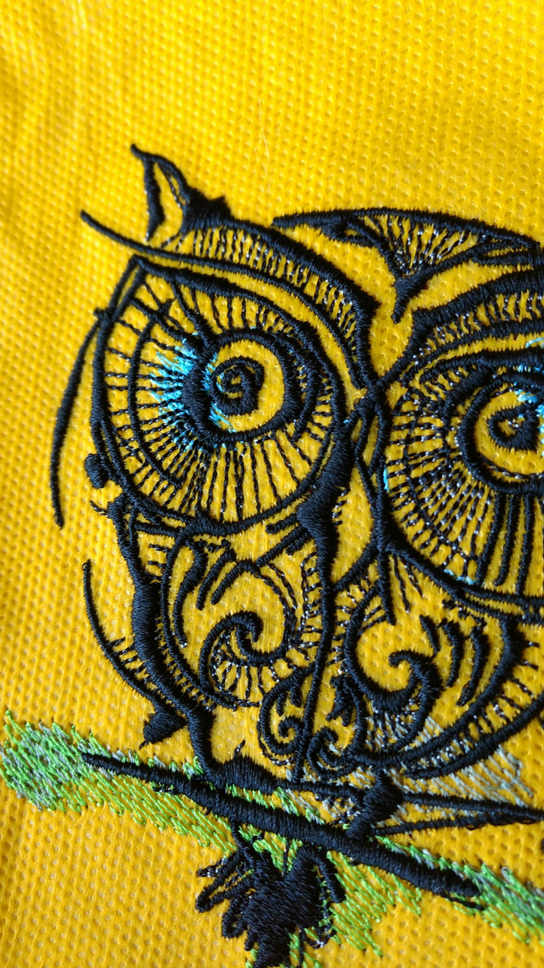 Fragment Of Big Eyes Owl Embroidery Design Showcase With Fauna
