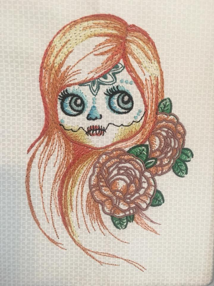 Girl With Sewn Mouth Embroidery Design Decoration Embroidery