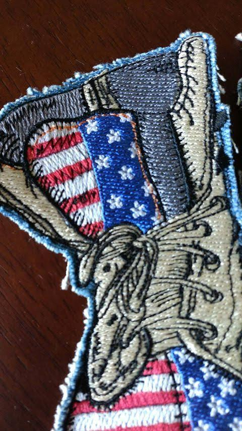 American Military Boot With Flag Embroidery Design Decoration
