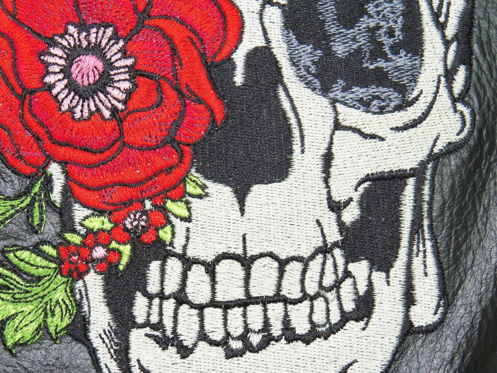 Skull and rose embroidery design