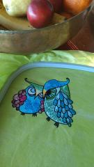Grouсhy owls embroidery design in kitchen