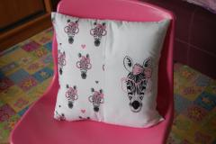 Embroidered cushion with Zebra in pink glasses free design
