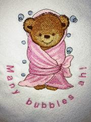 Bear in bath towel embroidery desig