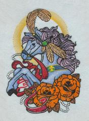 Circus horse machine embroidery design