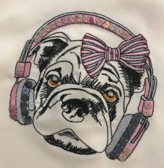 Dog with headphones embroidery design