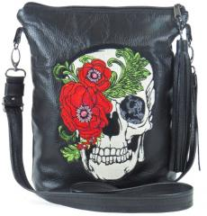Embroidered bag skull and rose