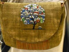 Embroidered bag tree town