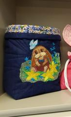 Embroidered basket with funny bunny design