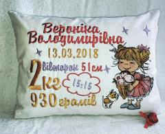 Embroidered cushion with girl with ice cream design