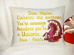 Embroidered cushion with moonlight unicorn design
