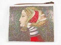 Embroidered handbag with ancient woman