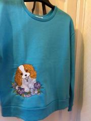 Embroidered sweater cocker spaniel