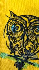 Fragment of big eyes owl embroidery design