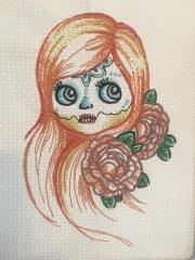 Girl with sewn mouth embroidery design