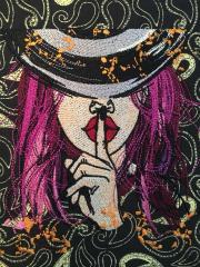 Keep silence embroidery design