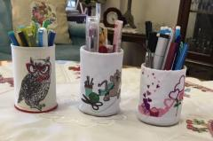 Glass for pencils with polar owl in red glasses embroidery design