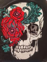 Skull and peony embroidery design