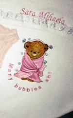 Teddy bear in bath towel embroidery design