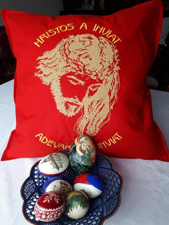 Embroidered cushion with Jesus Christ