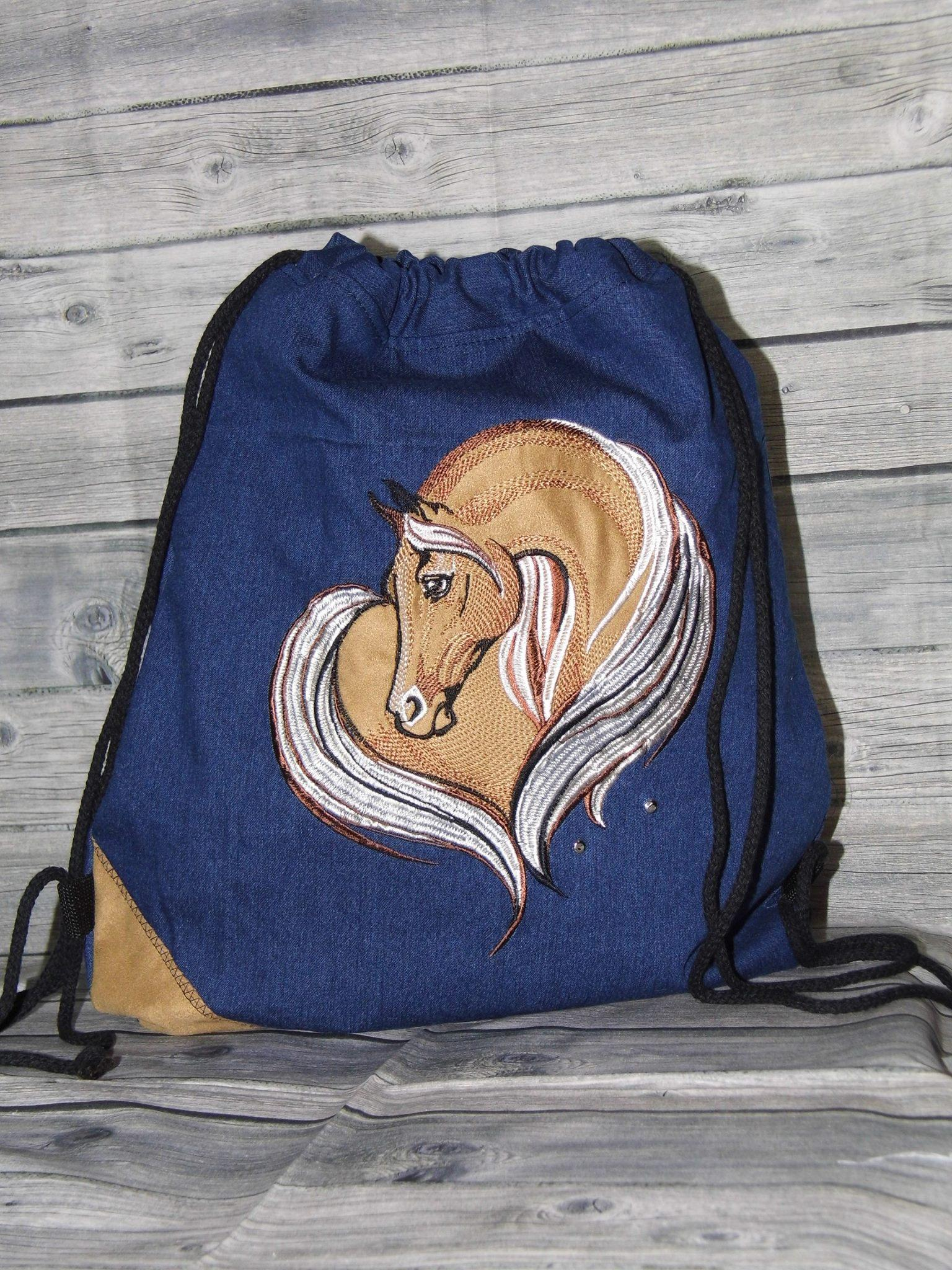 Bag for shoes with embroidered horse machine embroidery design
