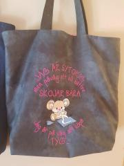 Embroidered bag funny mouse with scissors
