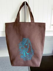 Embroidered bag horse and roses design