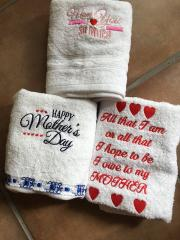 Set of embroidered towels for mother's day with free design