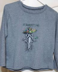 Embroidered sweater root man design