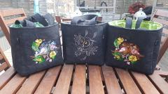 Embroidered bags little birds
