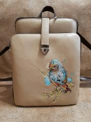 Embroidered backpack European goldfinch design