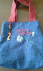 Embroidered bag scandinavian flowers