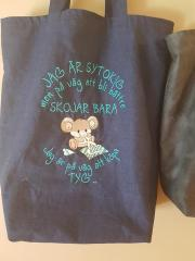 Embroidered bag with funny mouse design