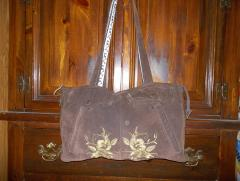 Bag with embroidered flowers machine embroidery design