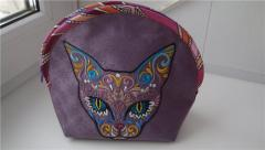 Cat with Mexican patterns on the cosmetic bag machine embroidry design