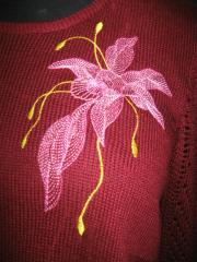 Sweater with Air flower embroidery design