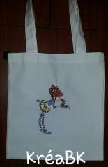Embroidered bag girl and squirrel