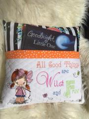 Embroidered cushion with fisher girl design