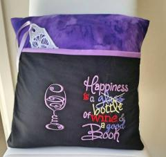 Embroidered cushion with glass of wine free design