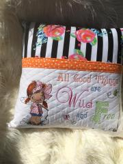 Embroidered cushion with little fisher girl design