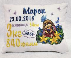 Embroidered cushion with surprised bunny design