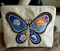 Embroidered handbag with fantastic butterfly free design