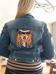 Embroidered jeans jacket keep silence