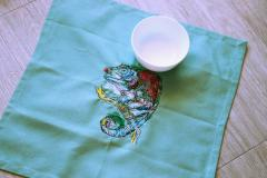 Embroidered napkin colored chameleon