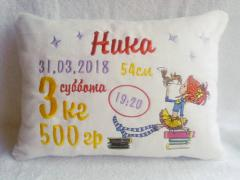 Embroidered pillow with girl and squirrel design