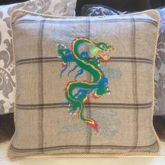 Embroidered pillow green with dragon free design