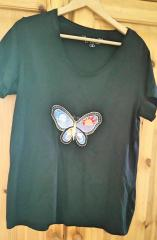 Embroidered t-shirt with fantastic butterfly free design