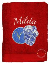 Embroidered towel with Aries zodiac sign design